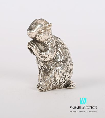 Sujet en argent figurant une marmotte  Poids...