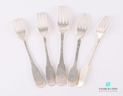 Suite de cinq fourchettes en argent, modèle...