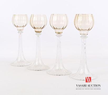 Suite de quatre verres type Romers en verre...