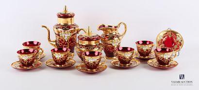 Service à café en verre de Murano rouge à...