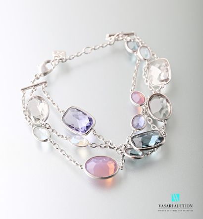 Swarovski, bracelet souple en métal argenté...