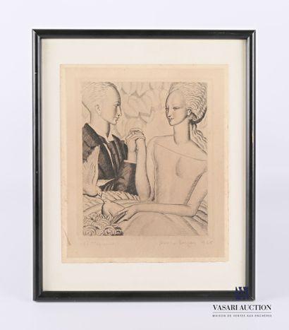 DUPAS Jean (1882-1964)  Couple aux hirondelles...
