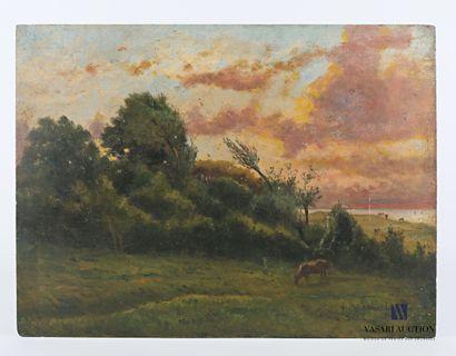 LEFEBVRE Valère (1812-1902)  Vaches au près...