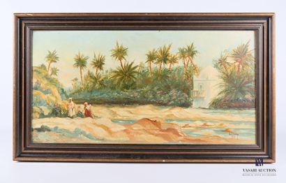 BLANC E. (XXème siècle)  Vue d'oasis animée...