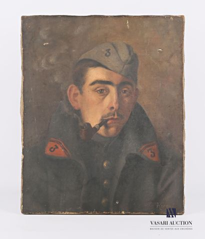 RENAUD Ch. (XXème siècle)  Portrait de soldat...