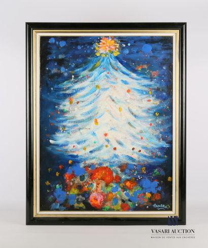 HOMERO (XXème siècle)  Joyeux Noël 1990  Huile...