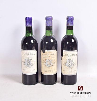 3 bouteillesChâteau LA CONSEILLANTEPomerol1964...