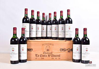 12 bouteillesChâteau LA CROIX SAINT VINCENTPomerol1989...