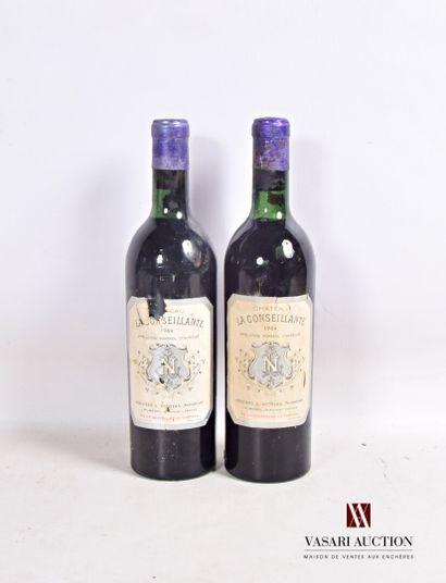 2 bouteillesChâteau LA CONSEILLANTEPomerol1964...