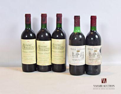 Lot de 5 bouteilles comprenant :  3 bouteillesChâteau...