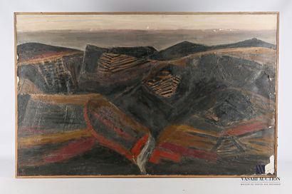 CÉLICE Pierre (1932-2019)  Paysage noir  Huile...