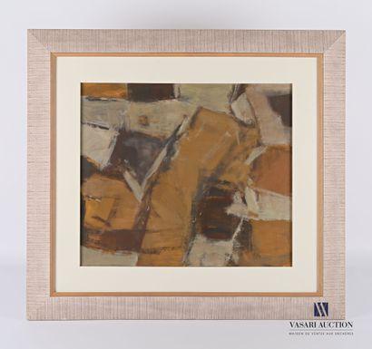 BUREL Jacques (1922-2000)  Composition ocre...