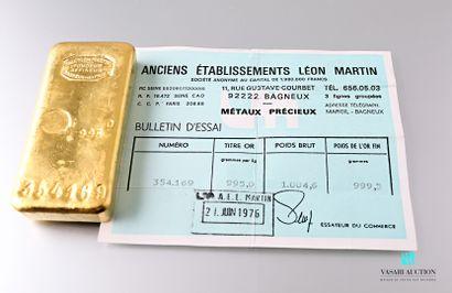 Lingot en or n° 354.169 avec son bulletin...
