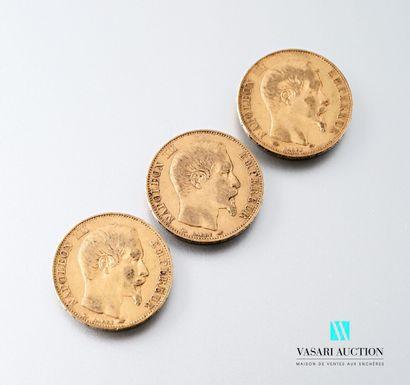 Trois pièces en or de 20 francs figurant...