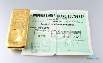 Lingot en or n° 611.713 avec son bulletin...