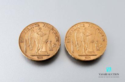 Deux pièces en or de 20 francs figurant le...