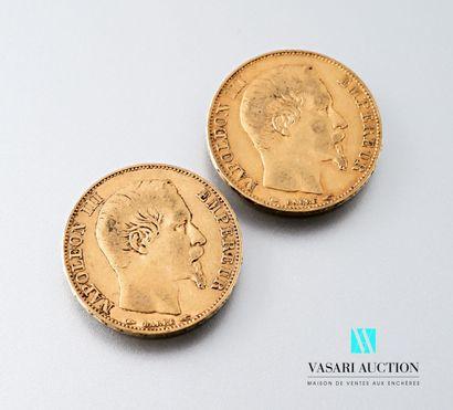 Deux pièces en or de 20 francs figurant Napoléon...