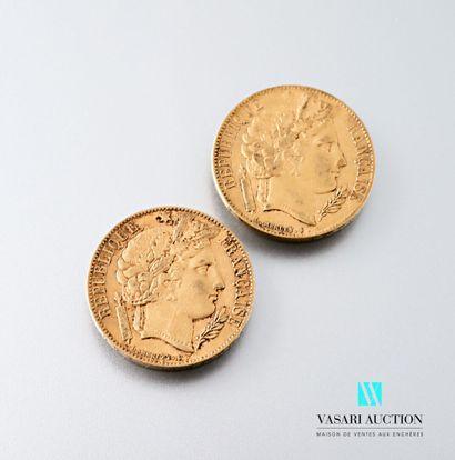 Deux pièces en or de 20 francs figurant Cérès...