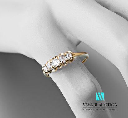 Demi-anneau en or jaune 750 millièmes serti...