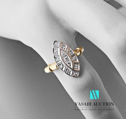 Bague marquise l'anneau en or jaune 750 millièmes,...
