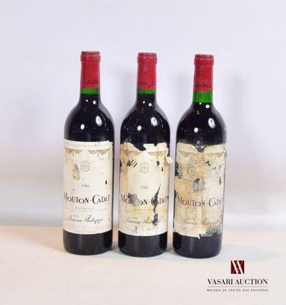 3 bouteillesMOUTON CADETBordeaux mise nég.1986...