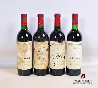 4 bouteillesLE PARVISSt Emilion mise nég.1986...