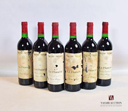 6 bouteillesLE PARVISSt Emilion mise nég.1985...
