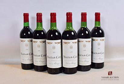 6 bouteillesMOUTON CADETBordeaux mise nég.1978...