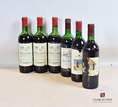 Lot de 6 bouteilles comprenant :  3 bouteillesBORDEAUX...