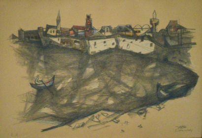 EISENSCHER Jacob (1896-1980) Barque devant...