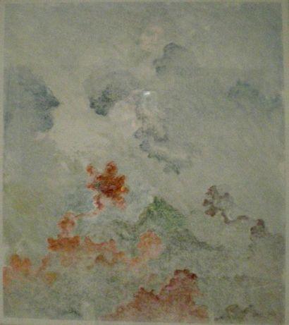 BERGEON Alain (né en 1938) Paysage abstrait Monotype 55...