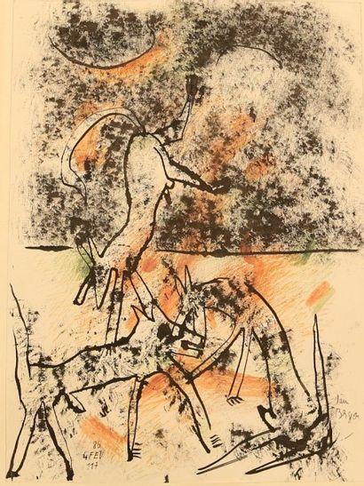 BERGEON Alain (né en 1938) Trois renards Lithographie Signée...