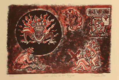 PONCE Margarita Ciclo solar de los Mayas Lithographie...