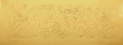 ZADKINE Ossip (1890-1967) Frise humaine Gravure...