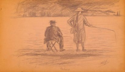 KIFFER Charles (1902-1992)Les pêcheursCrayon...