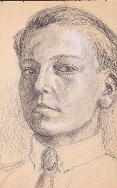 KIFFER Charles (1902-1992)AutoportraitCrayon...