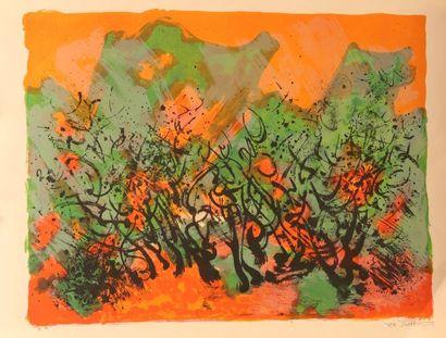 SARTHOU Gilles (1953) Paysage de campagne Lithographie Signée...