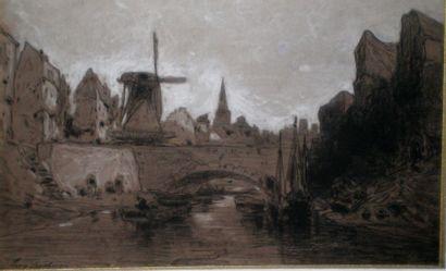 DESHAYES Eugène (1828-1898) Rivière en Bretagne Fusain...