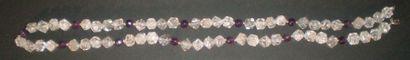 Collier de perles de quartz et améthyste....