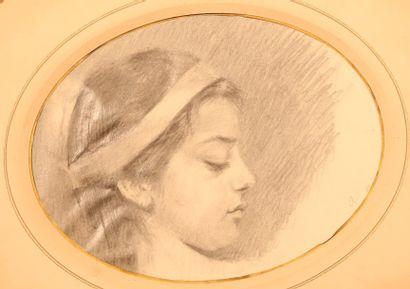 MOUTTE Alphonse (1840 - 1913)  Jeune fille...