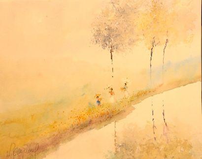 RAMPELBERG Emile (1911-?)  Aquarelle  Trois...