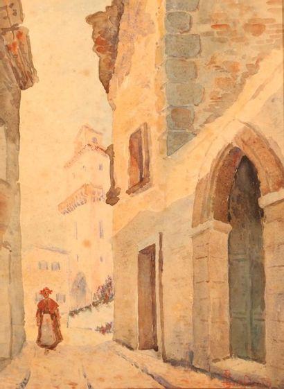 LAFOND G.  Paysage orientaliste  Aquarelle...