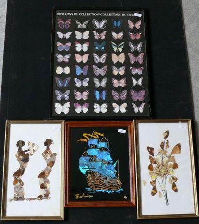 Tableaux d'artisanat en ailes de papillons...
