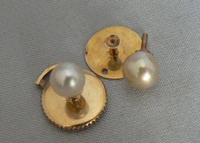 Deux boutons de col à monture en or jaune,...