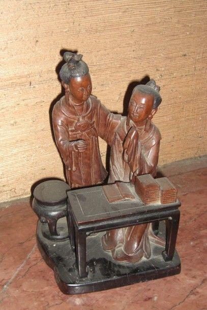 couple chinois en bois