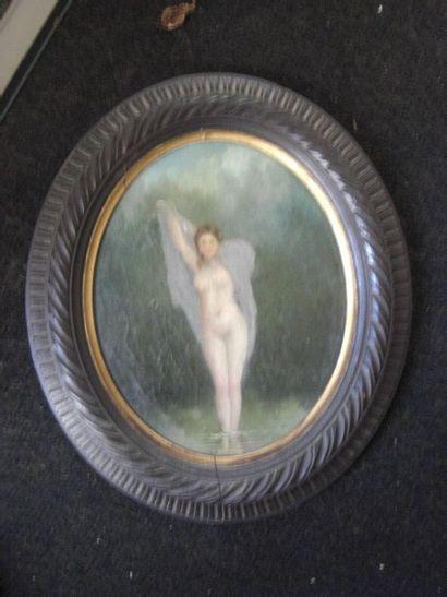 femme dans un sous bois huile sur toile...