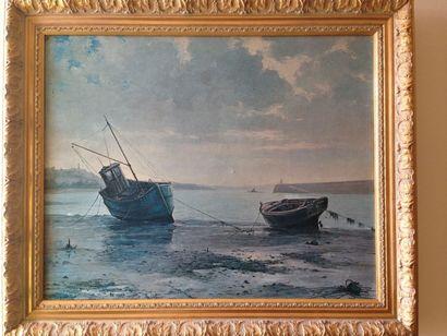 Bateaux à marée basse Huile sur toile 39...