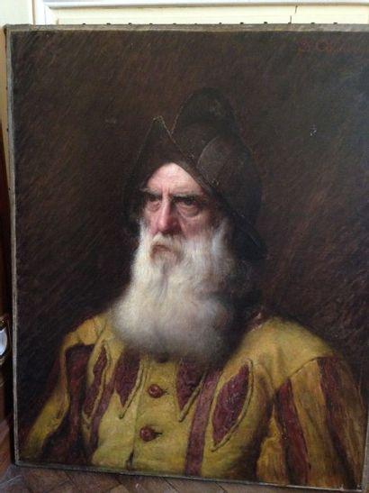 Portrait d'homme barbu au casque Huile sur...