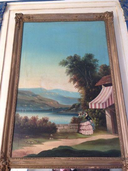 Trumeau à décor d'une vue de lac animée de...