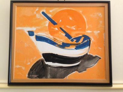 THERON Barque Huile sur toile signée en bas...